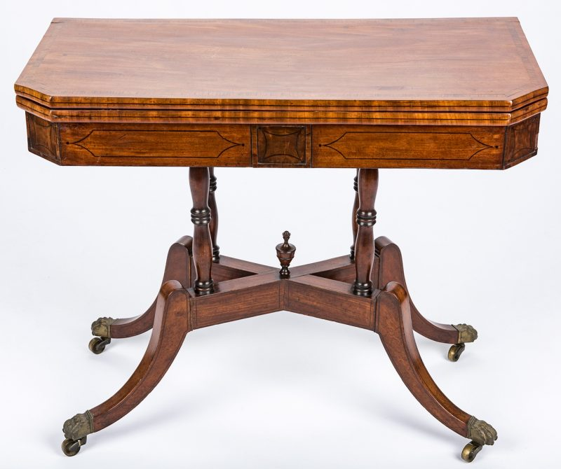 Lot 443: Regency Mahogany Card Table, X Form Stretcher