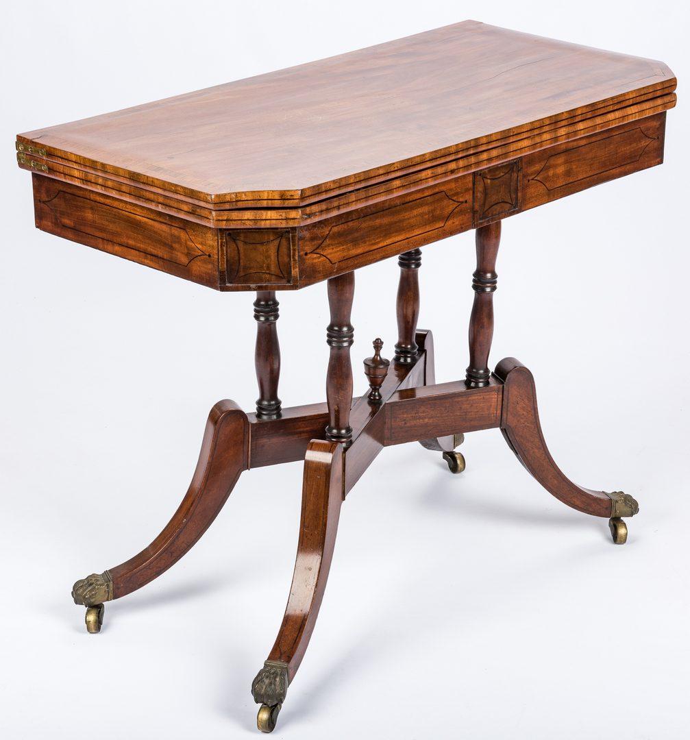 Lot 443: Regency Mahogany Card Table, X Form Stretcher