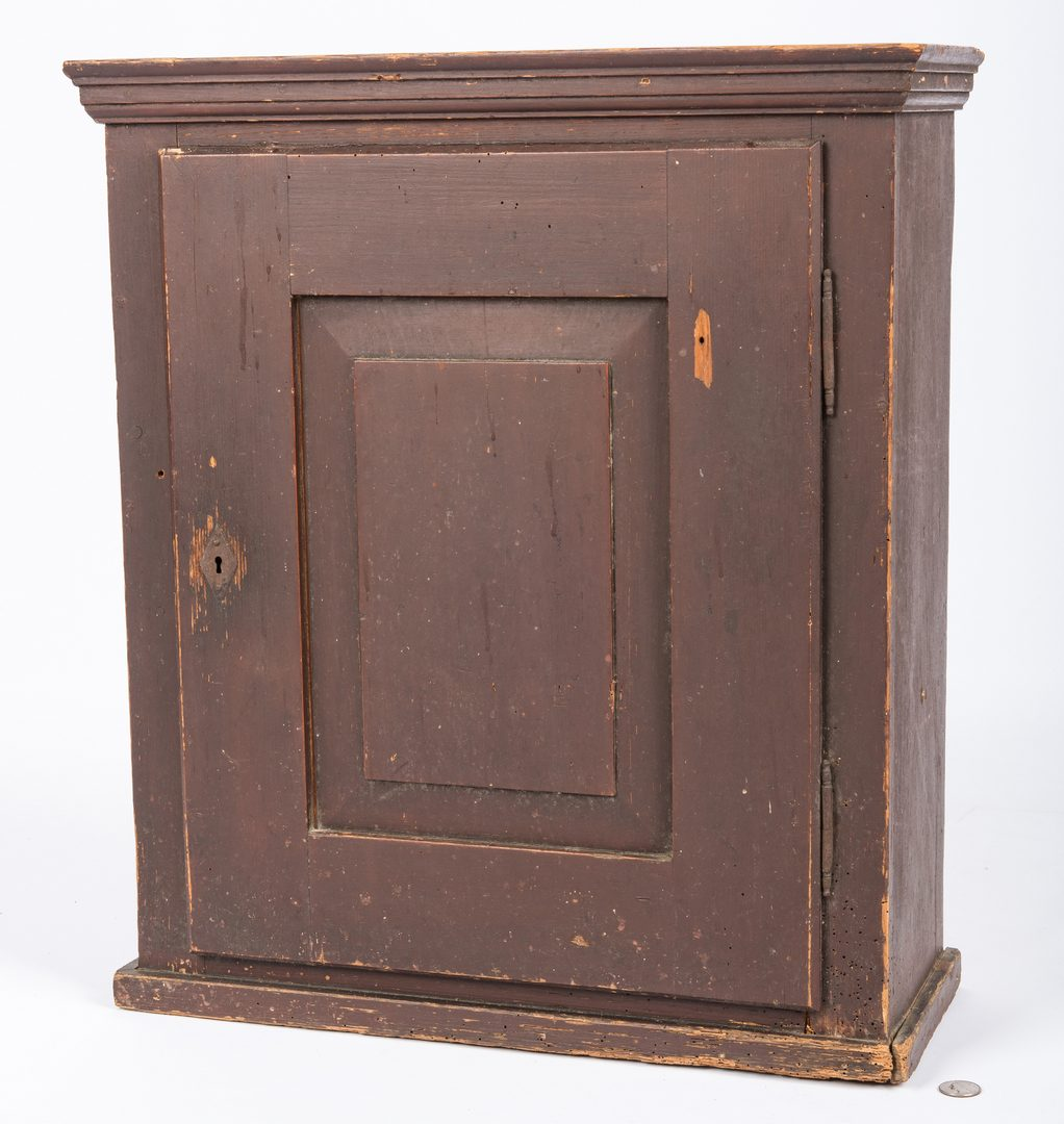 Lot 453: Painted Pine Cupboard & 2 East TN Chairs