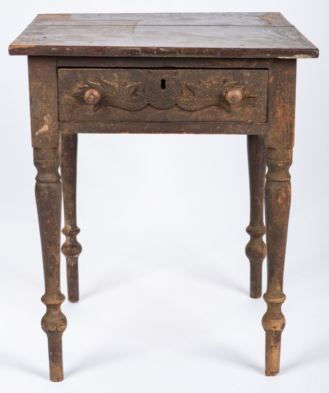 Lot 459: East TN Sheraton One Drawer Table, Carved Decoration to Drawer