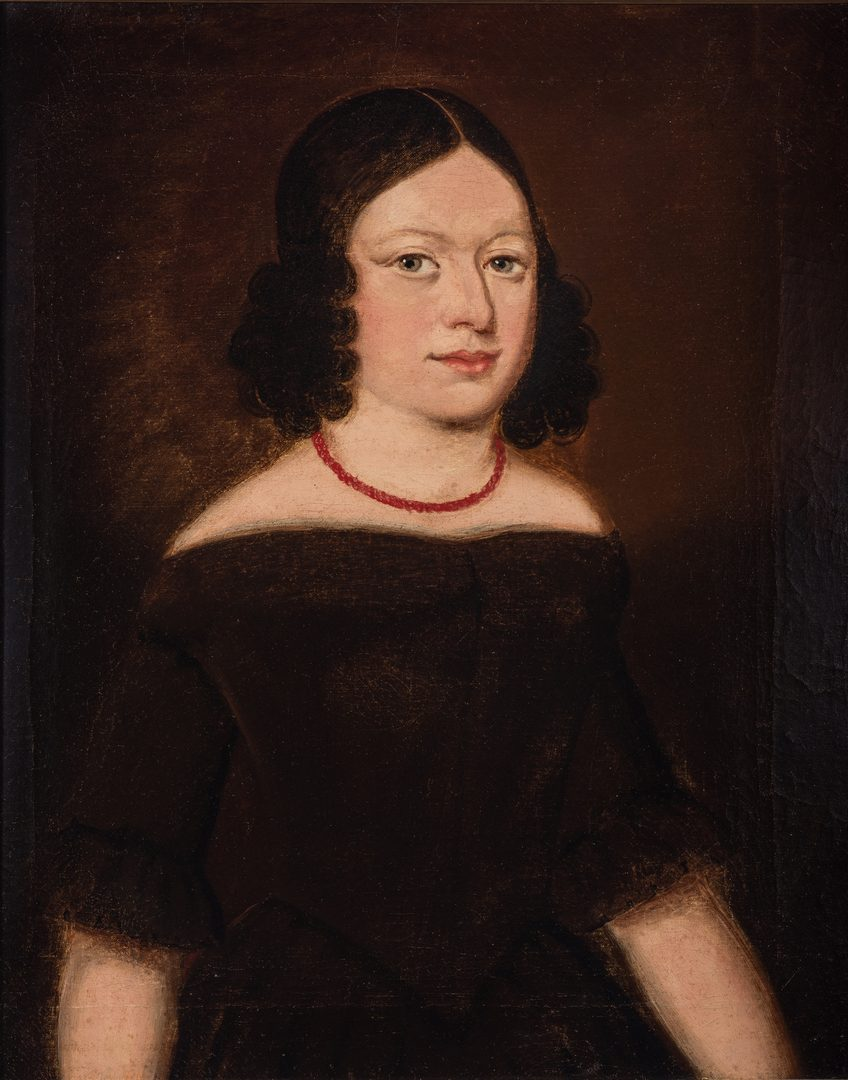 Lot 464: 19th C. American Portrait, Woman with Coral Necklace