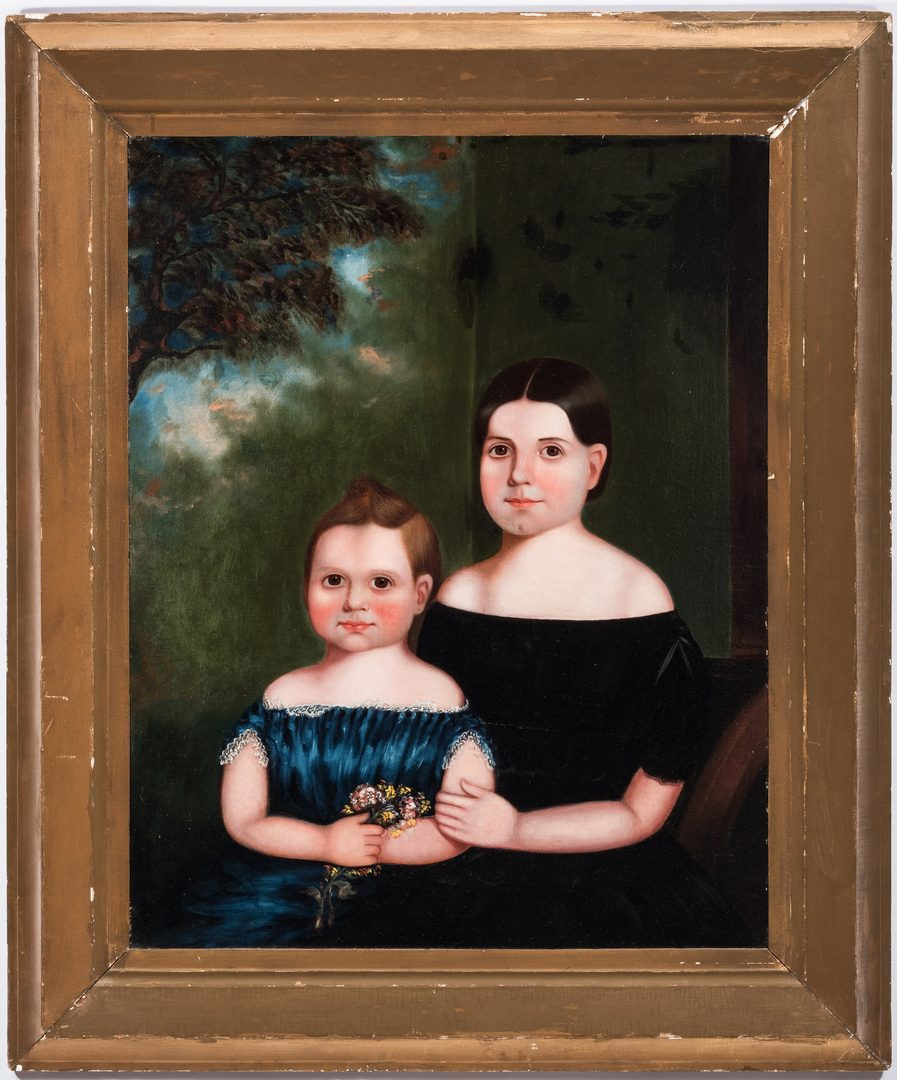 Lot 465: American Oil on Canvas Portrait of Two Girls