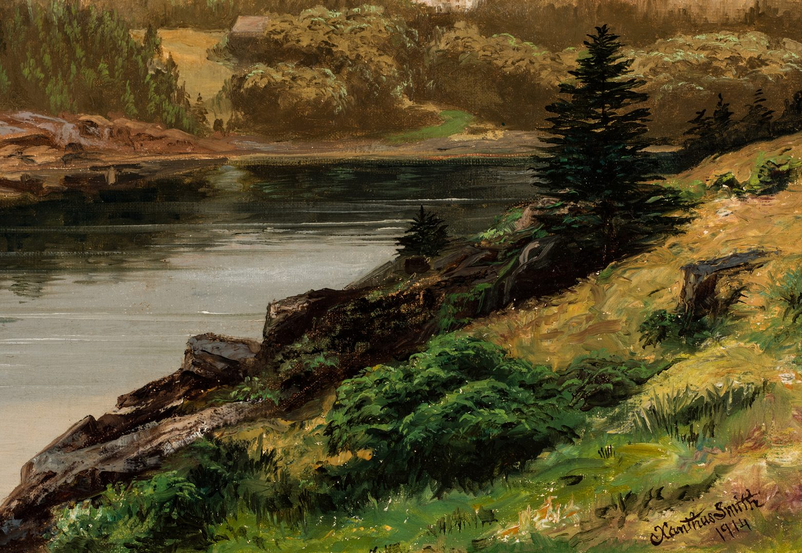 Lot 467: Xanthus Smith Oil on Canvas Landscape