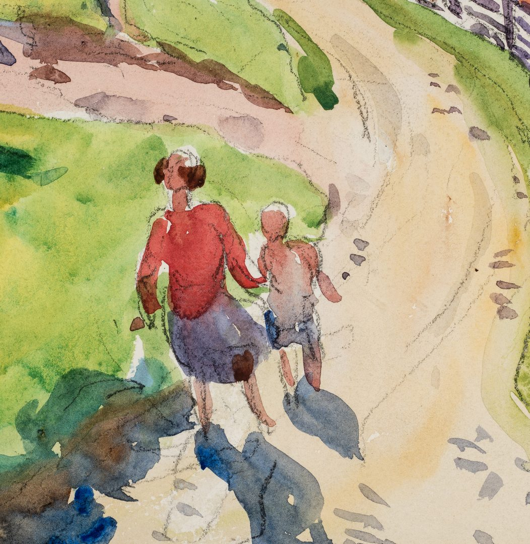 Lot 470: Aiden Lassell Ripley, Watercolor of Mother and Child Stroll