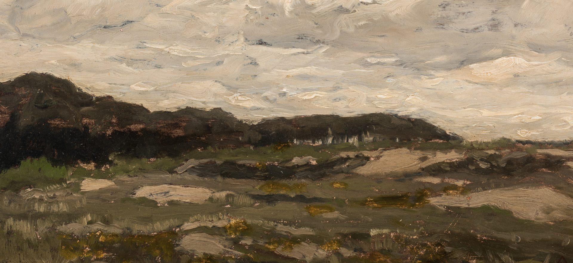 "Lot 471: Henry Ward Ranger oil, ""Stormy Day"""