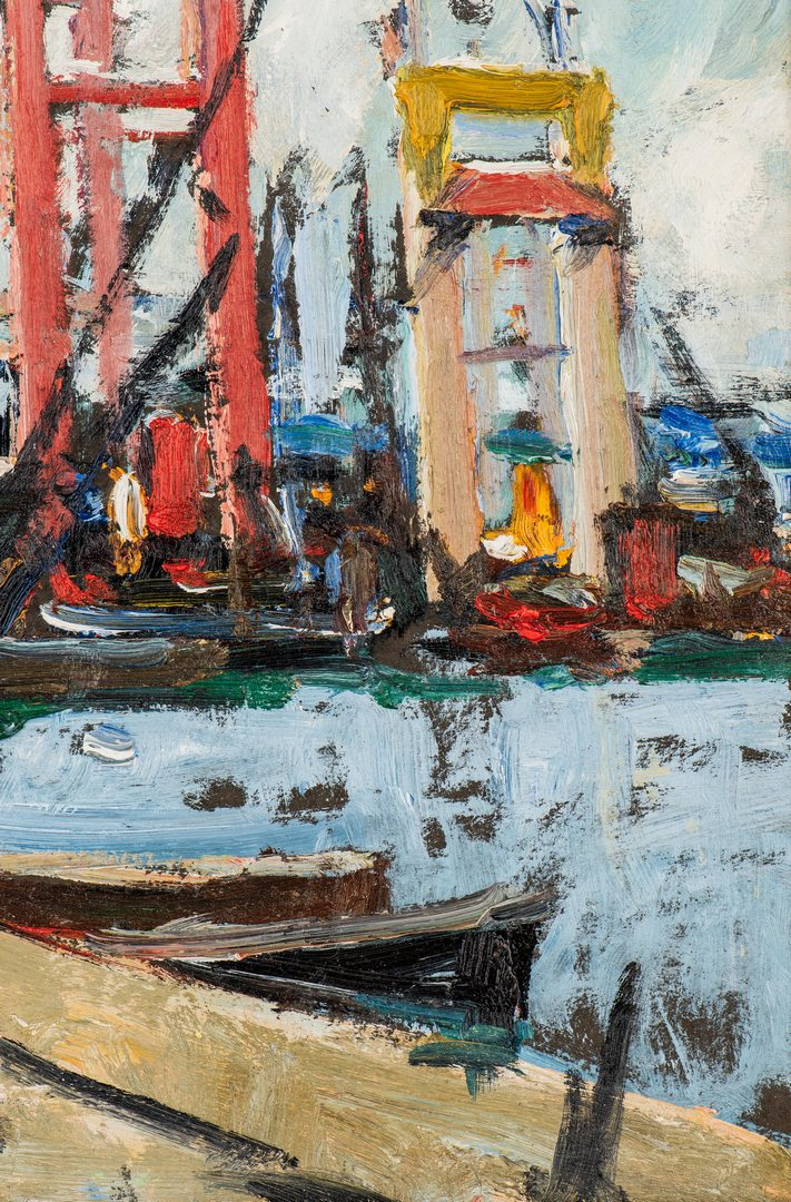 "Lot 472: Walter Farndon, ""View of the Boatyard"", Estate Stamp"