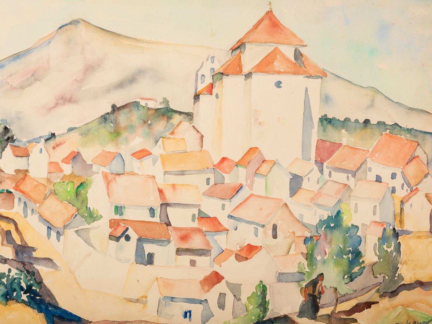 Lot 476: Harry Shaw Spanish Village Watercolor