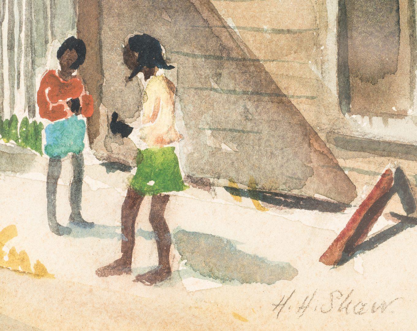 Lot 477: 2 Harry Shaw Watercolor Street Scenes, incl. Fish Market