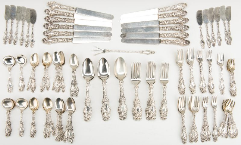 Lot 47: Whiting Lily Pattern Sterling Flatware, 128 pcs.