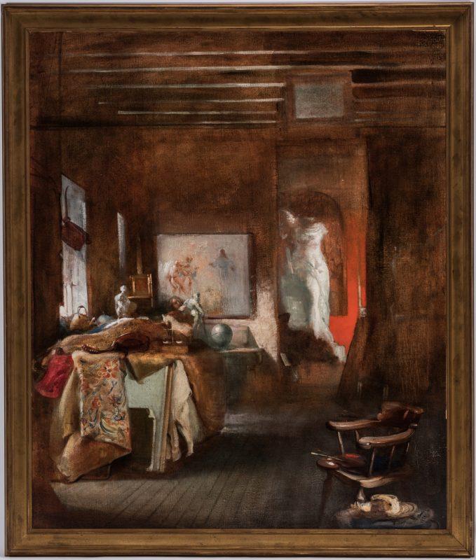 Lot 480: Frank Herbert Mason O/C, Winged Victory (Studio Scene)