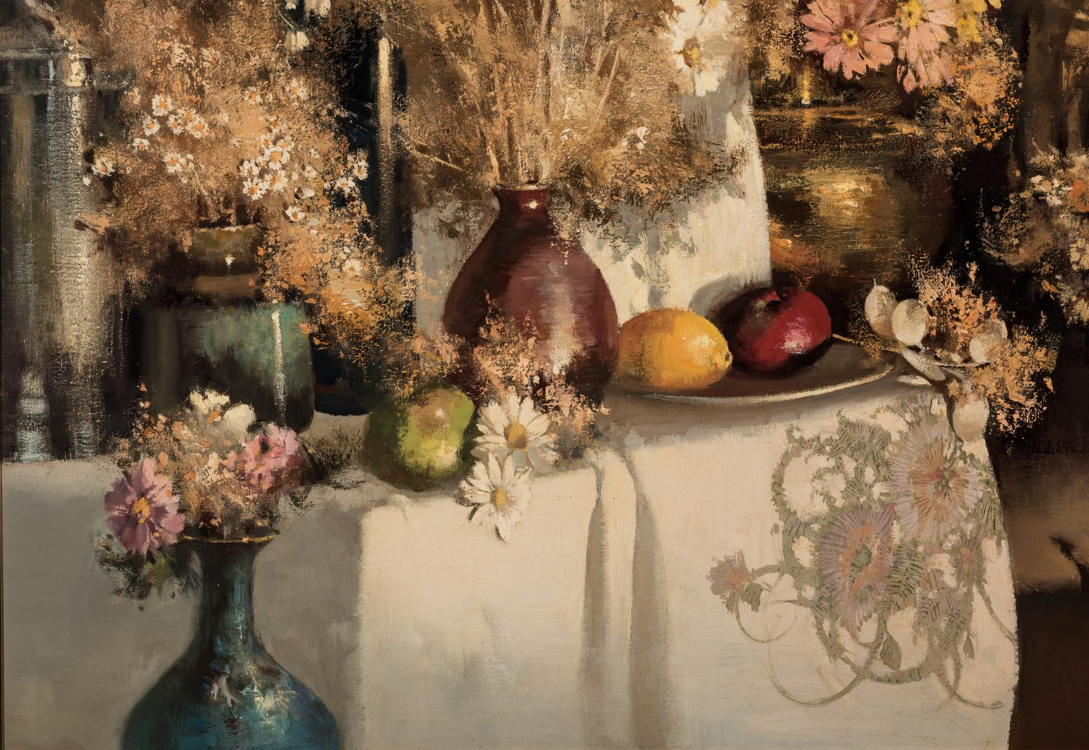 Lot 481: Tom Nicholas O/C, large still life with Chinese Lantern