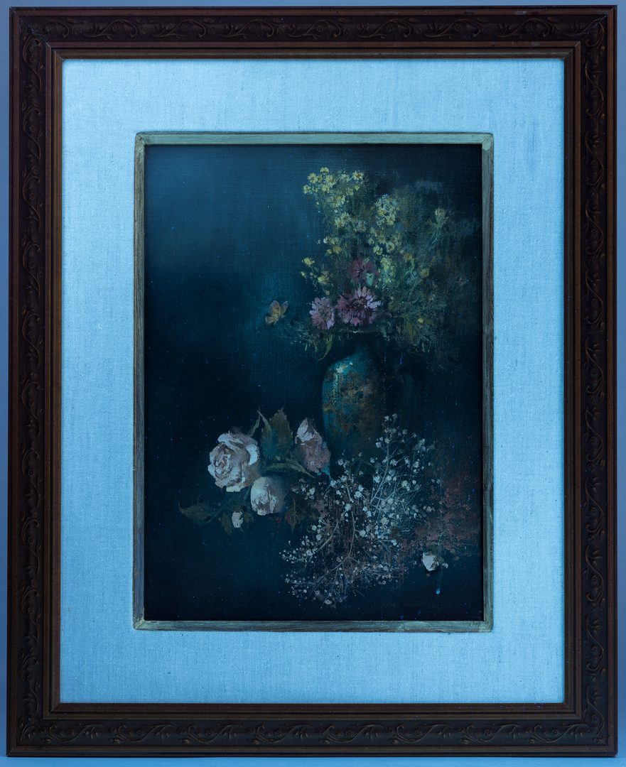 Lot 482: 2 Tom Nicholas Floral Still Life Paintings