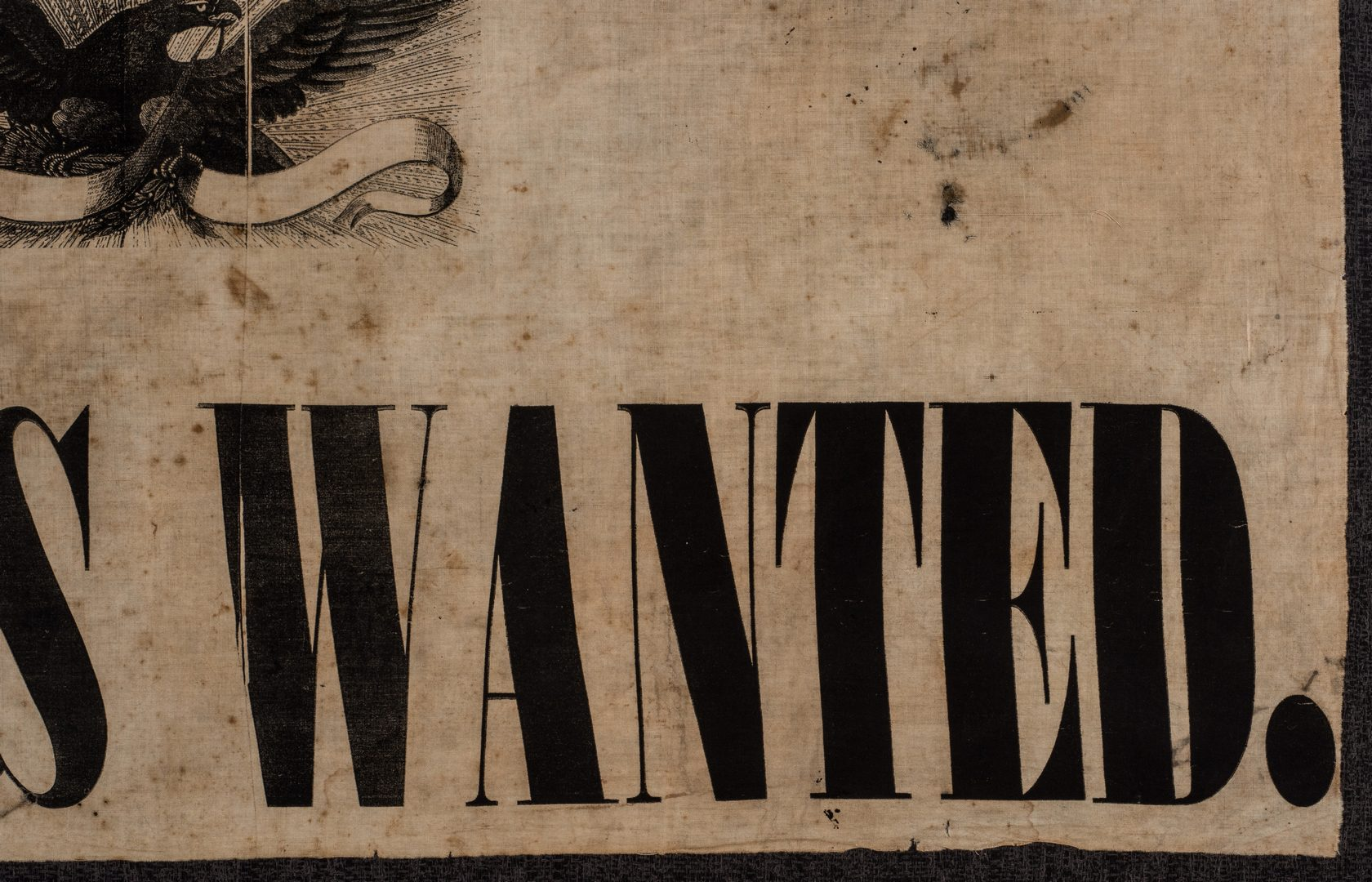 Lot 494: Army of GA Soldiers Wanted Banner, circa 1864
