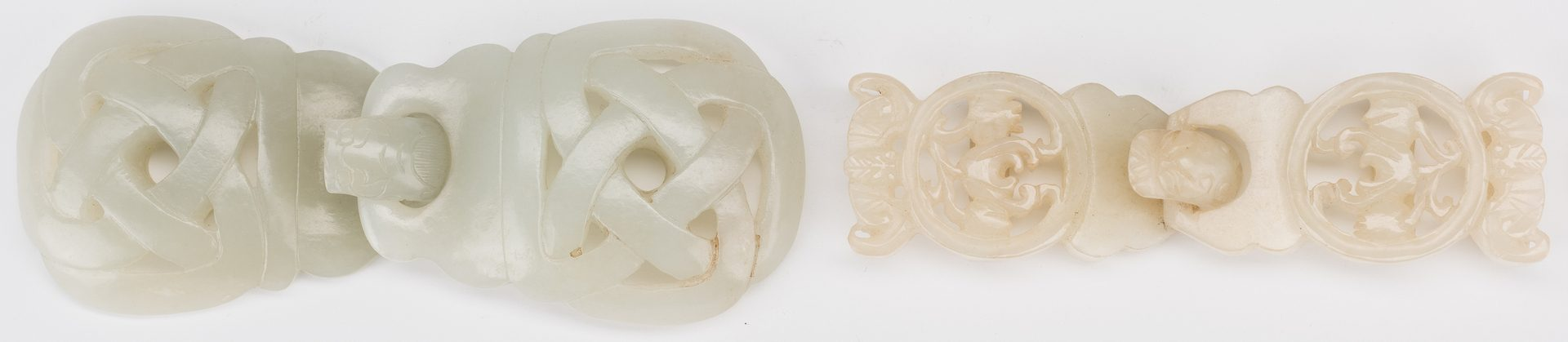 Lot 4: 2 Chinese Celadon Jade Buckles