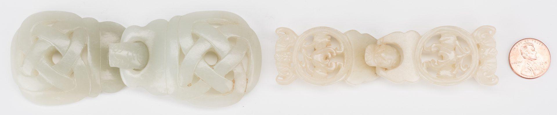 Lot 4: 2 Chinese Celadon Jade Buckles