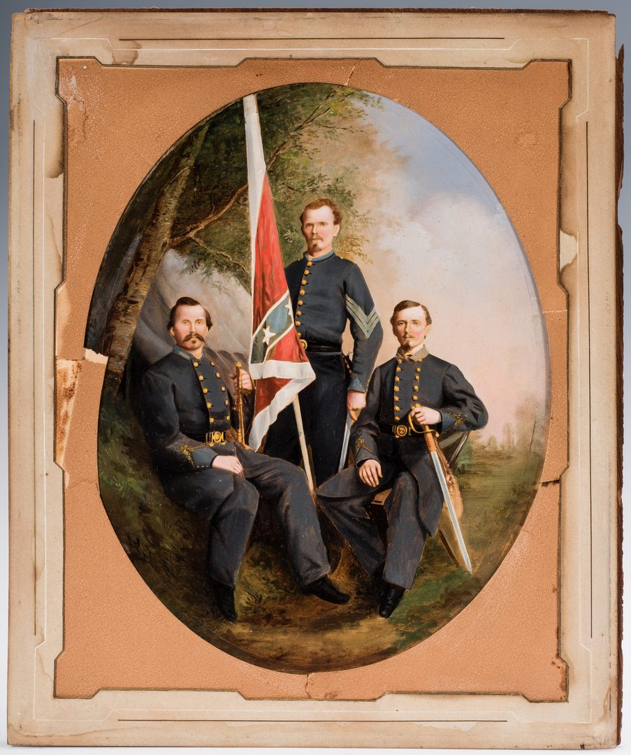 Lot 502: Large Civil War Handpainted Photograph, 3 Confederate Officers