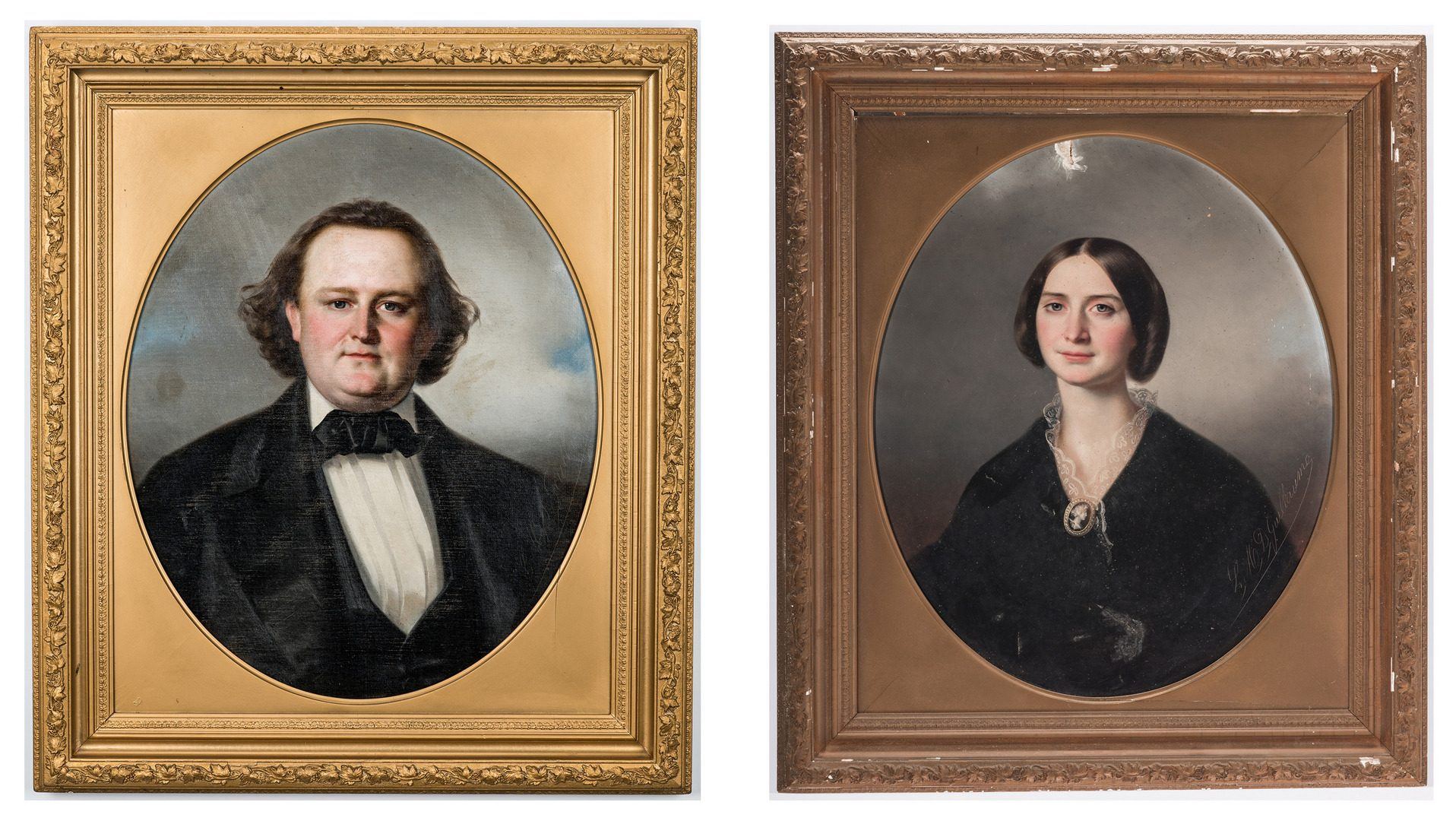Lot 503: Portraits of Lt. Col. Lewis Minor Coleman and Mary Marshall Coleman