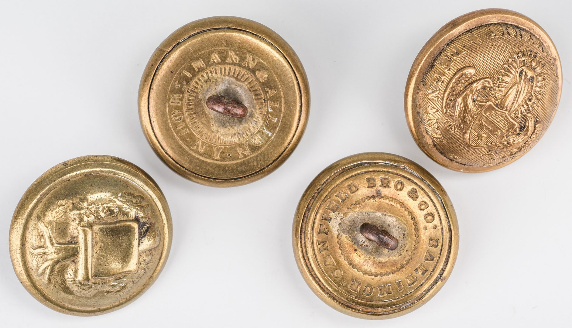 Lot 508: 4 Confederate Brass Buttons, inc. Arkansas