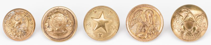 Lot 509: 5 Civil War Brass Buttons, 4 Confederate, 1 Texas