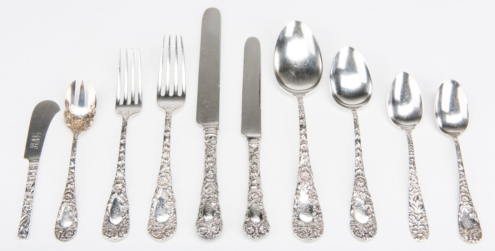 Lot 50: JS MacDonald Sterling Flatware, 105 pcs.