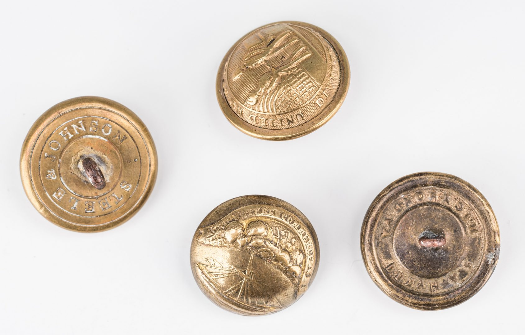 Lot 510: 4 Confederate Brass Buttons, inc. Tennessee