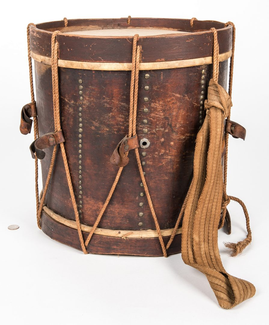 Lot 514: Civil War Era Drum with Leather Spacers