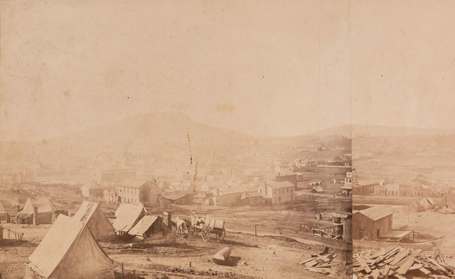 Lot 519: Panoramic View of Chattanooga, 1863 plus watercolor, 2 items