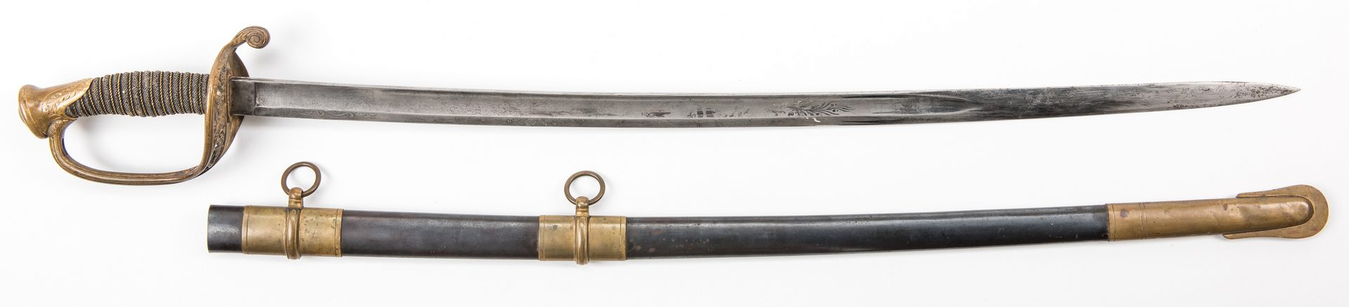 Lot 527: Civil War Ames Model 1850 Foot Officer's Sword w/ Scabbard