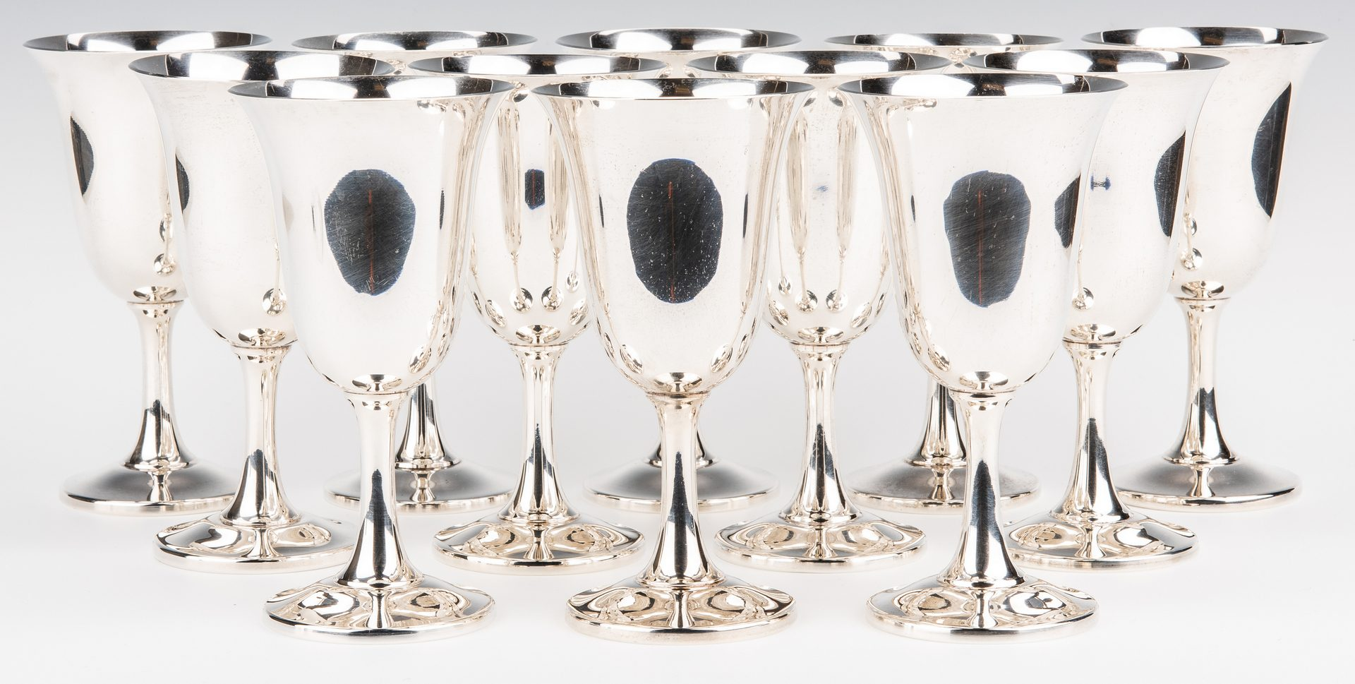 Lot 52: Set 12 Wallace Sterling Water Goblets