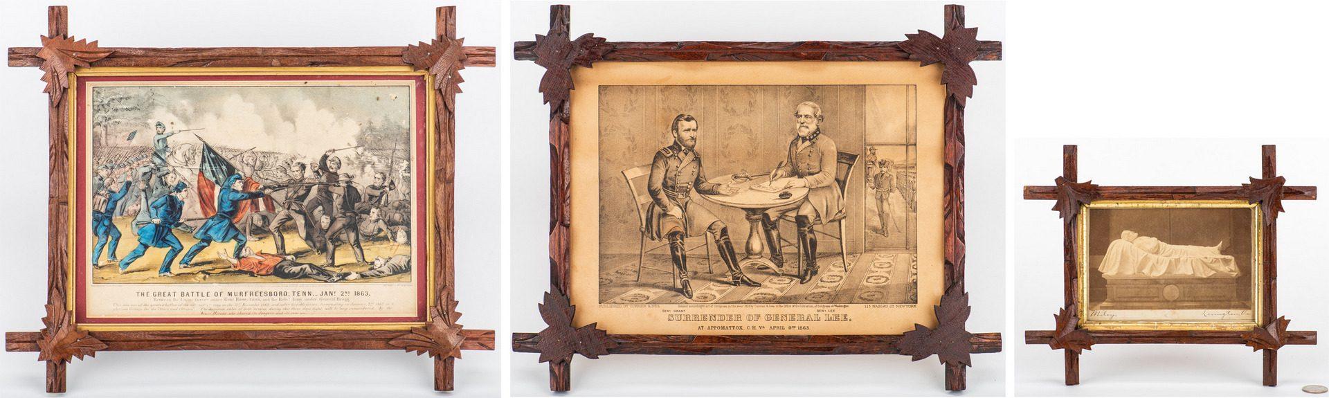 Lot 534: 3 Civil War Framed Items inc. Miley CDV, Currier & Ives
