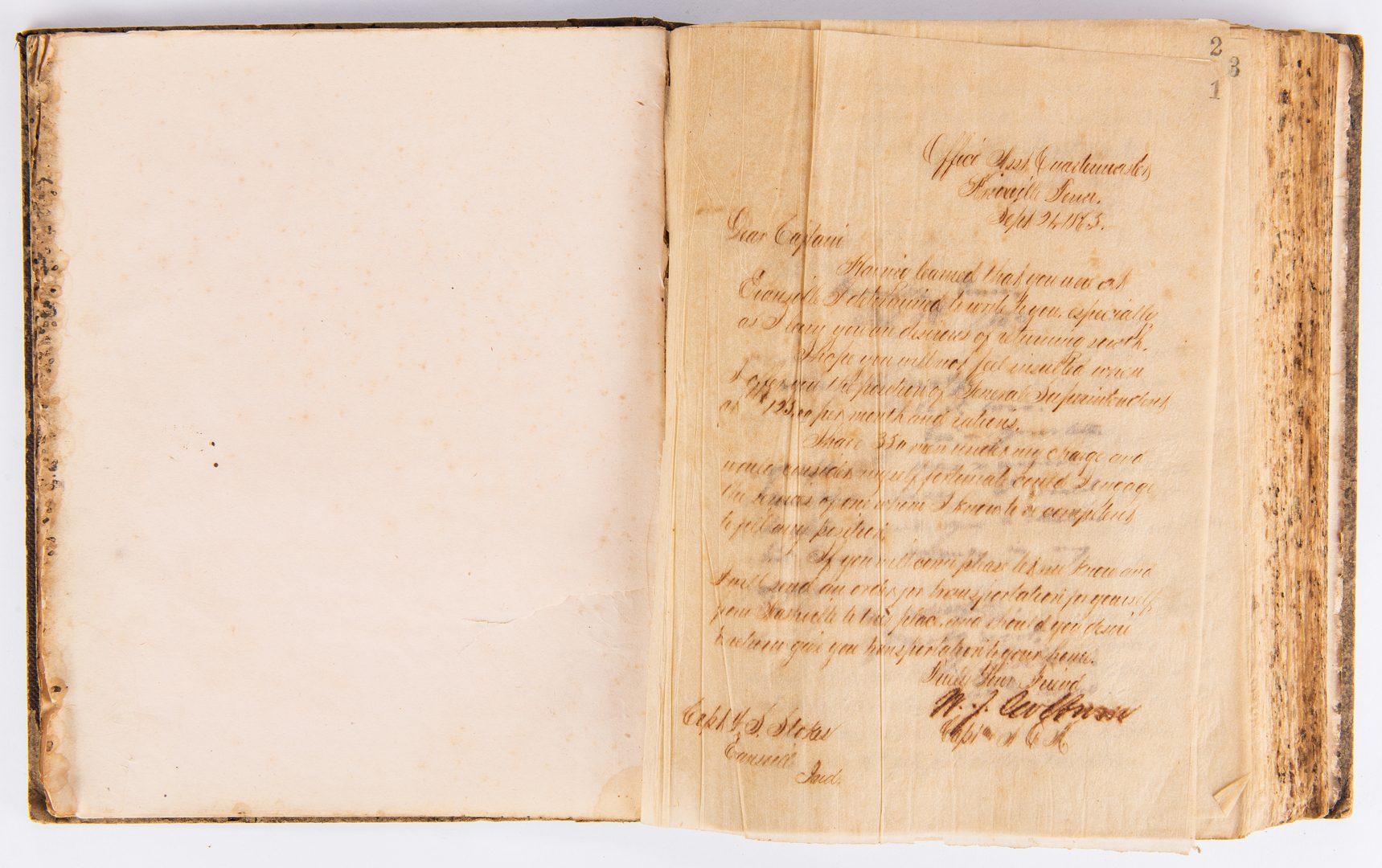 Lot 538: Post Civil War Asst. Quartermaster Copybook, Captain W. J. Colburn, Knoxville
