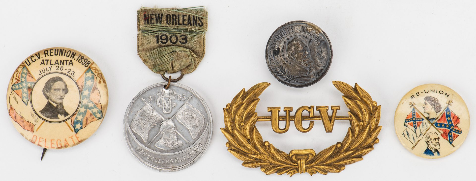 Lot 547: 9 UCV Ribbons, Badges, Buttons