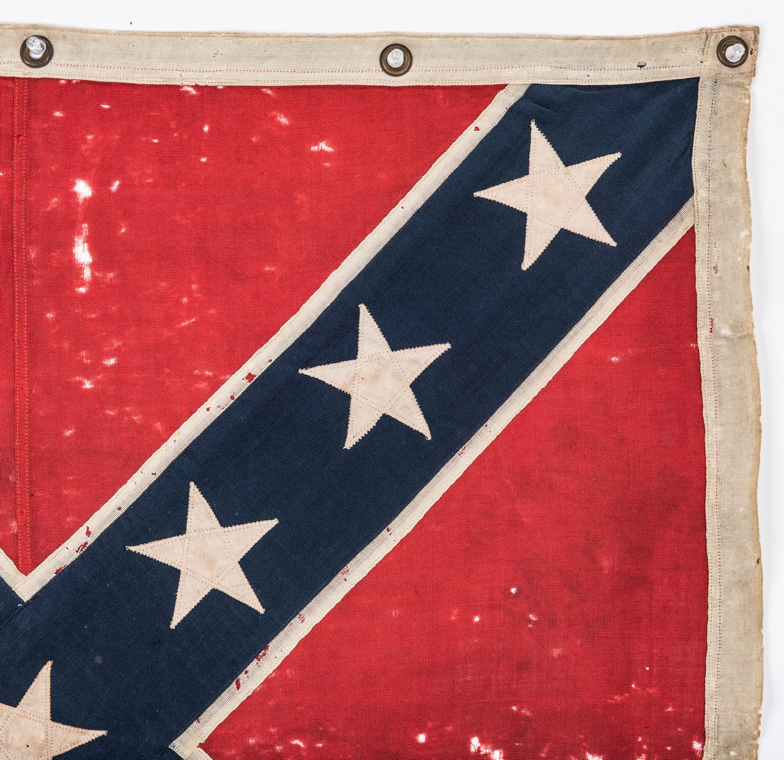 Lot 551: Square Confederate Southern Cross Reunion Flag