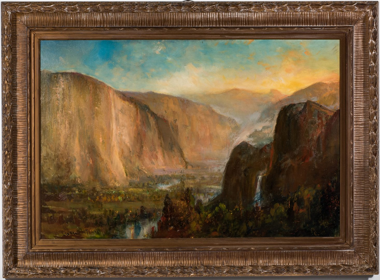 Lot 552: Lucien Powell O/C, Western Waterfall Landscape 19th c.
