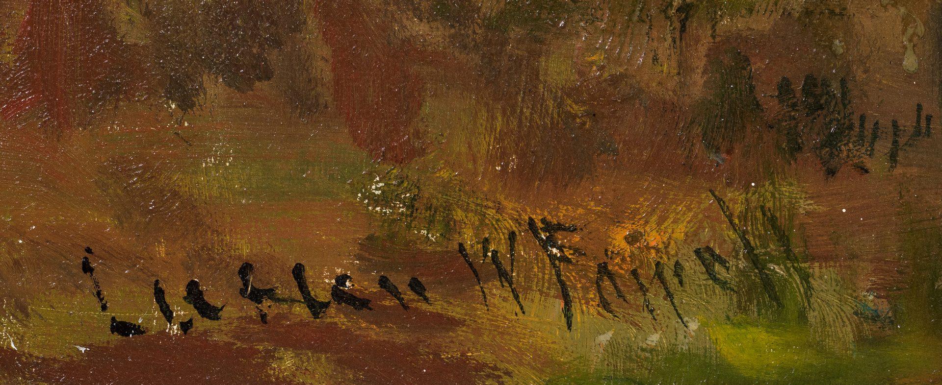 Lot 552: Lucien Powell O/C, Western Waterfall Landscape 19th c.