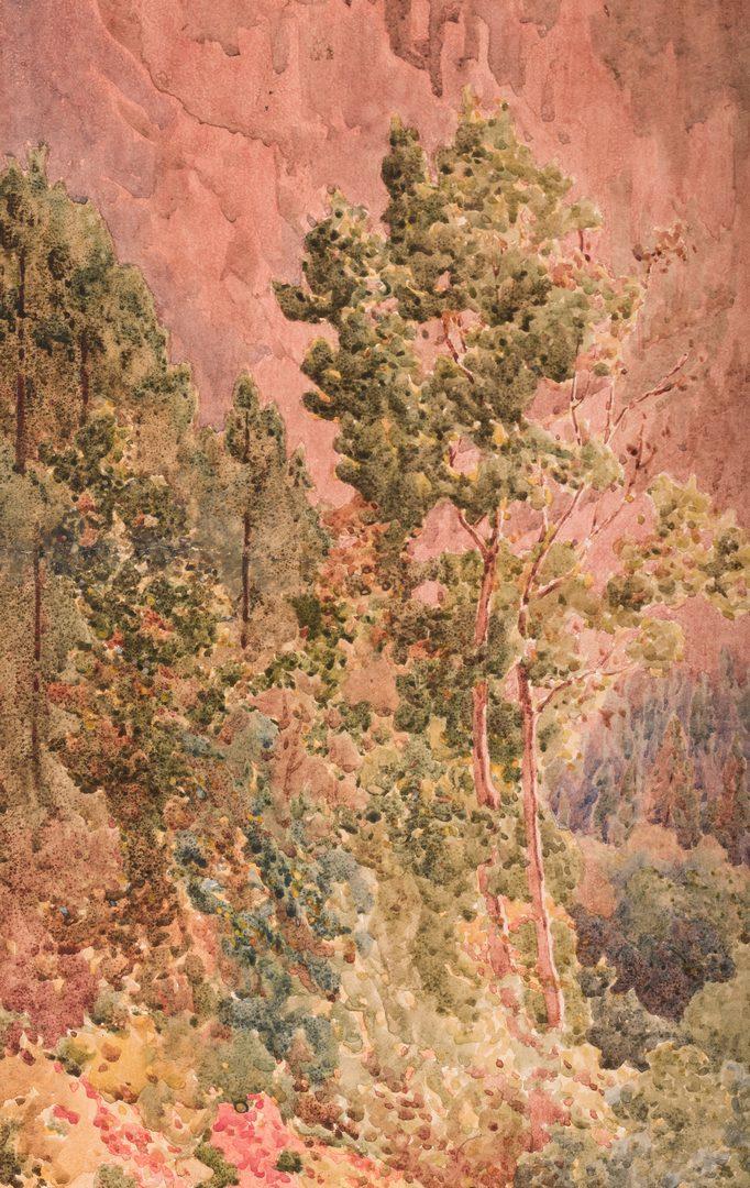 Lot 555: Gunnar Widforss Forest Landscape Watercolor