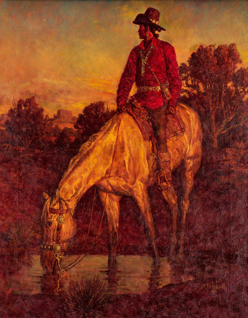 Lot 556: Arnold Friberg, O/C, Scout on Horseback