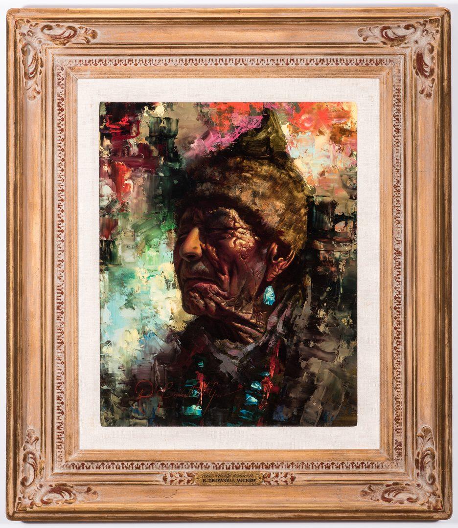 Lot 557: R. Brownell McGrew Oil on Board Portrait