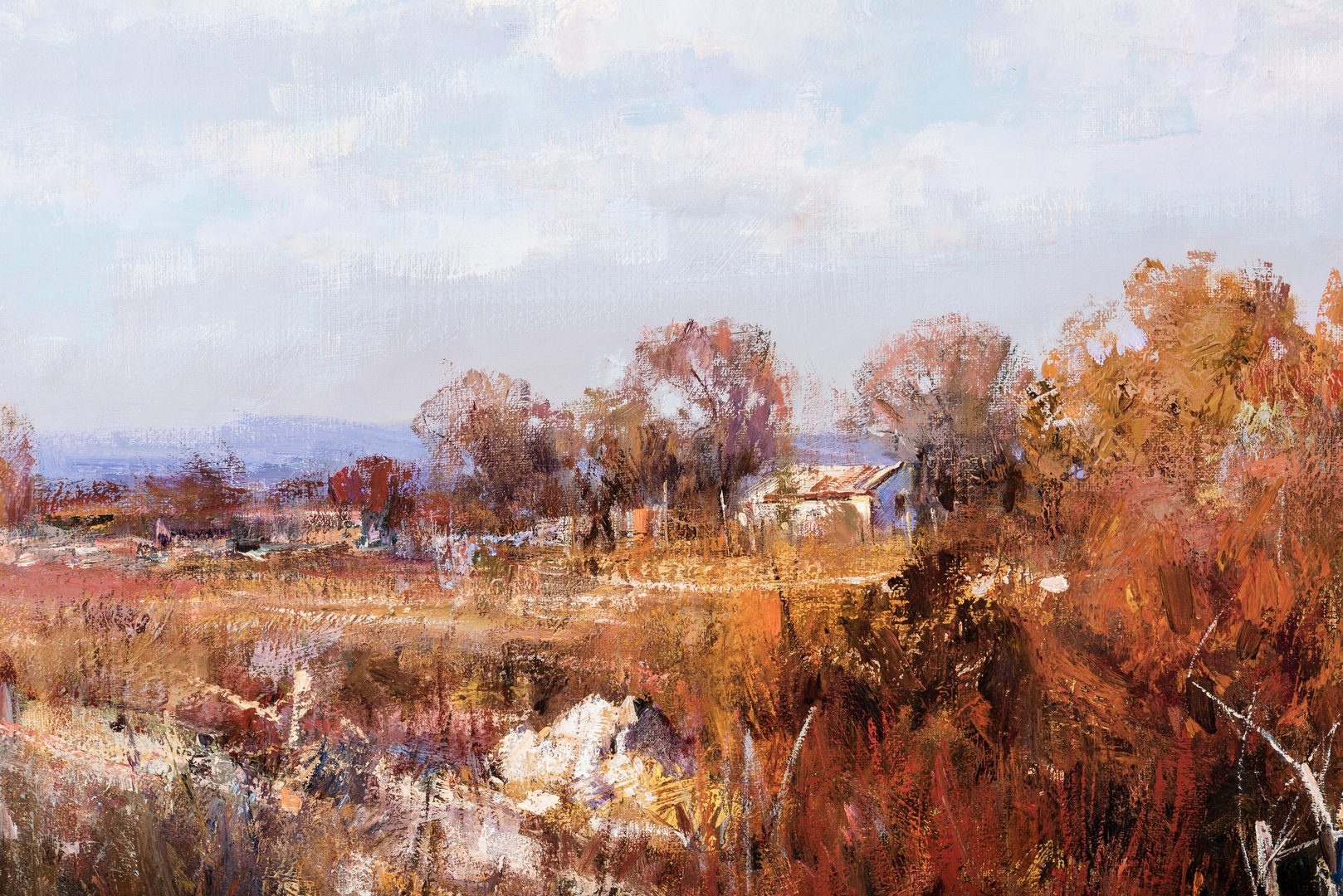 "Lot 558: Cyrus Afsary, O/C, Western Landscape titled ""Fall"""