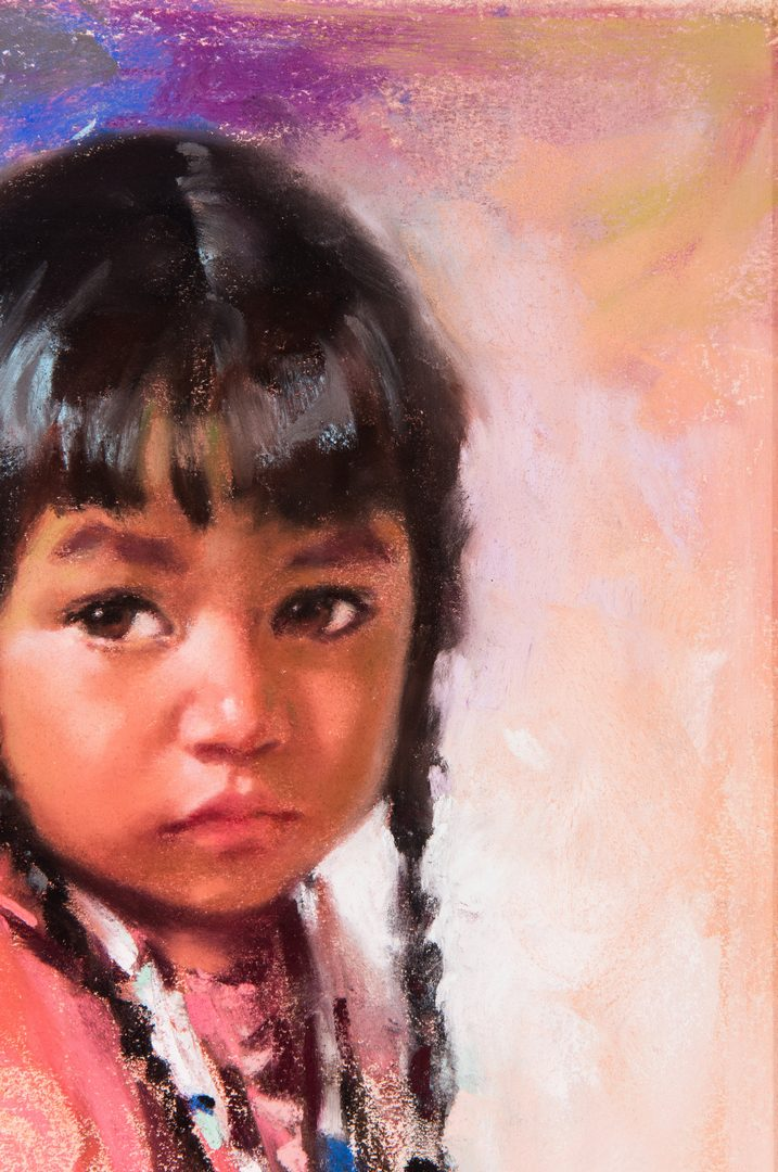 Lot 561: Harley Brown Native American Girl w/ Feathers