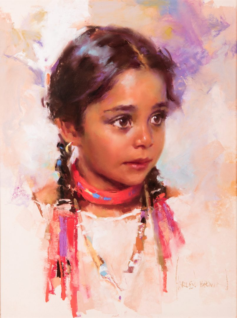 Lot 562: Harley Brown, Native American Girl w/ Ribbons
