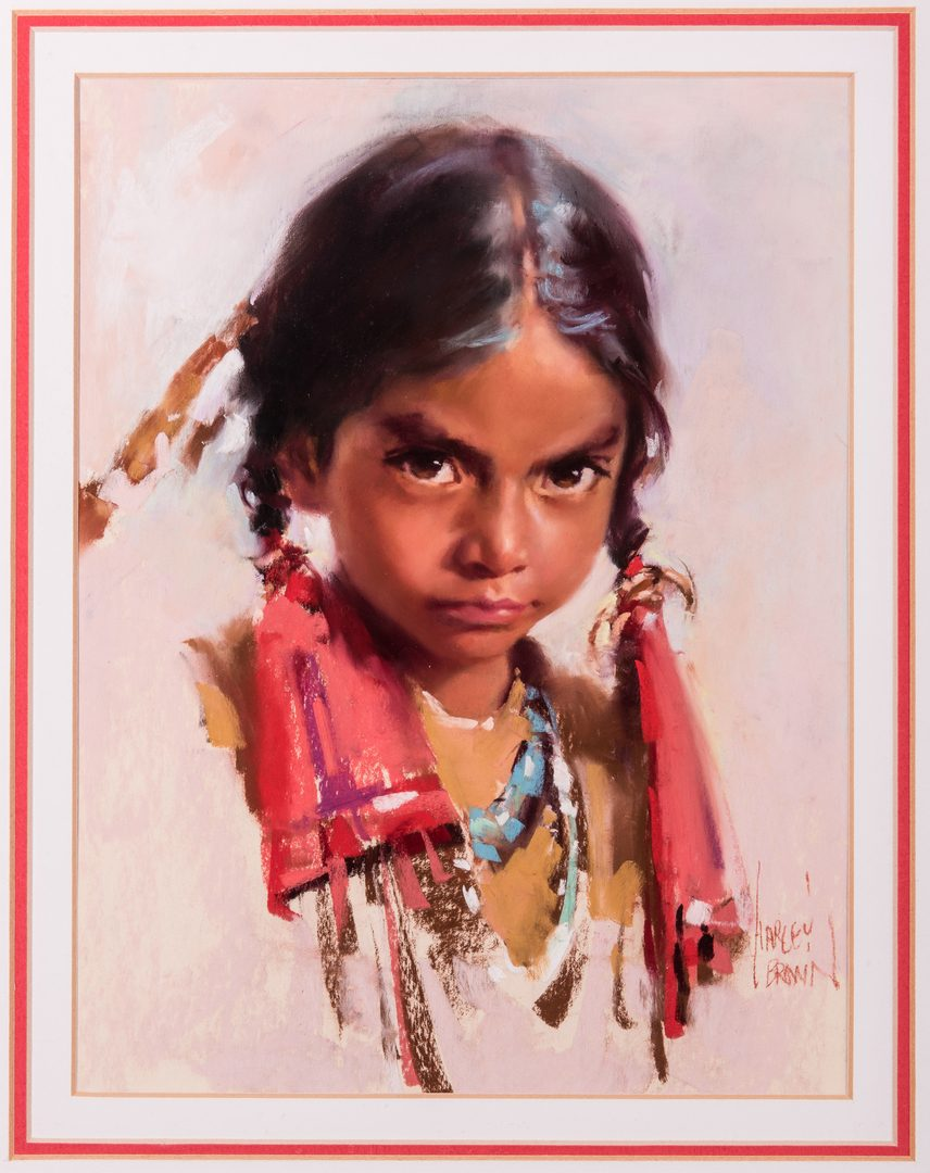 Lot 563: Harley Brown Native American Girl w/ Turquoise Necklace