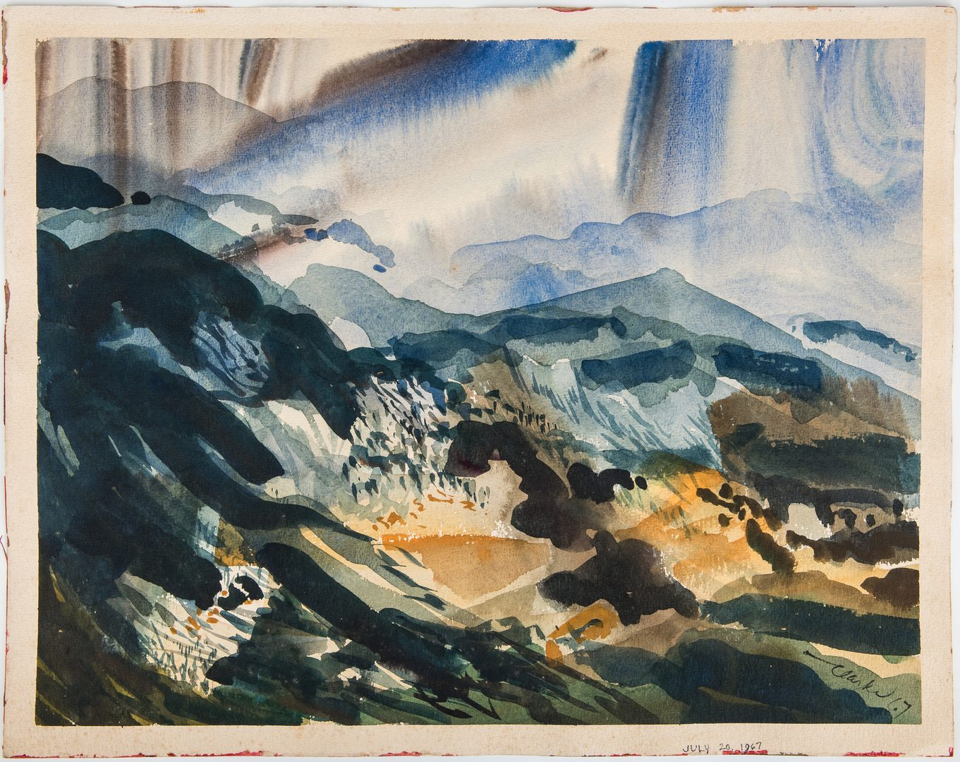 Lot 572: 2 Richard Clarke Abstract TN Landscape Watercolors