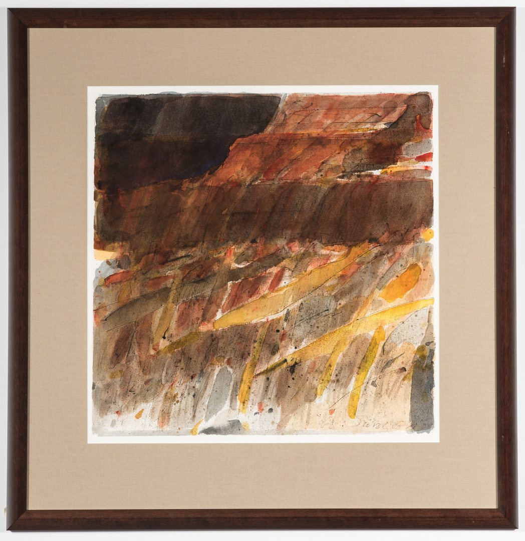 Lot 573: 2 Carl Sublett Abstract Watercolors