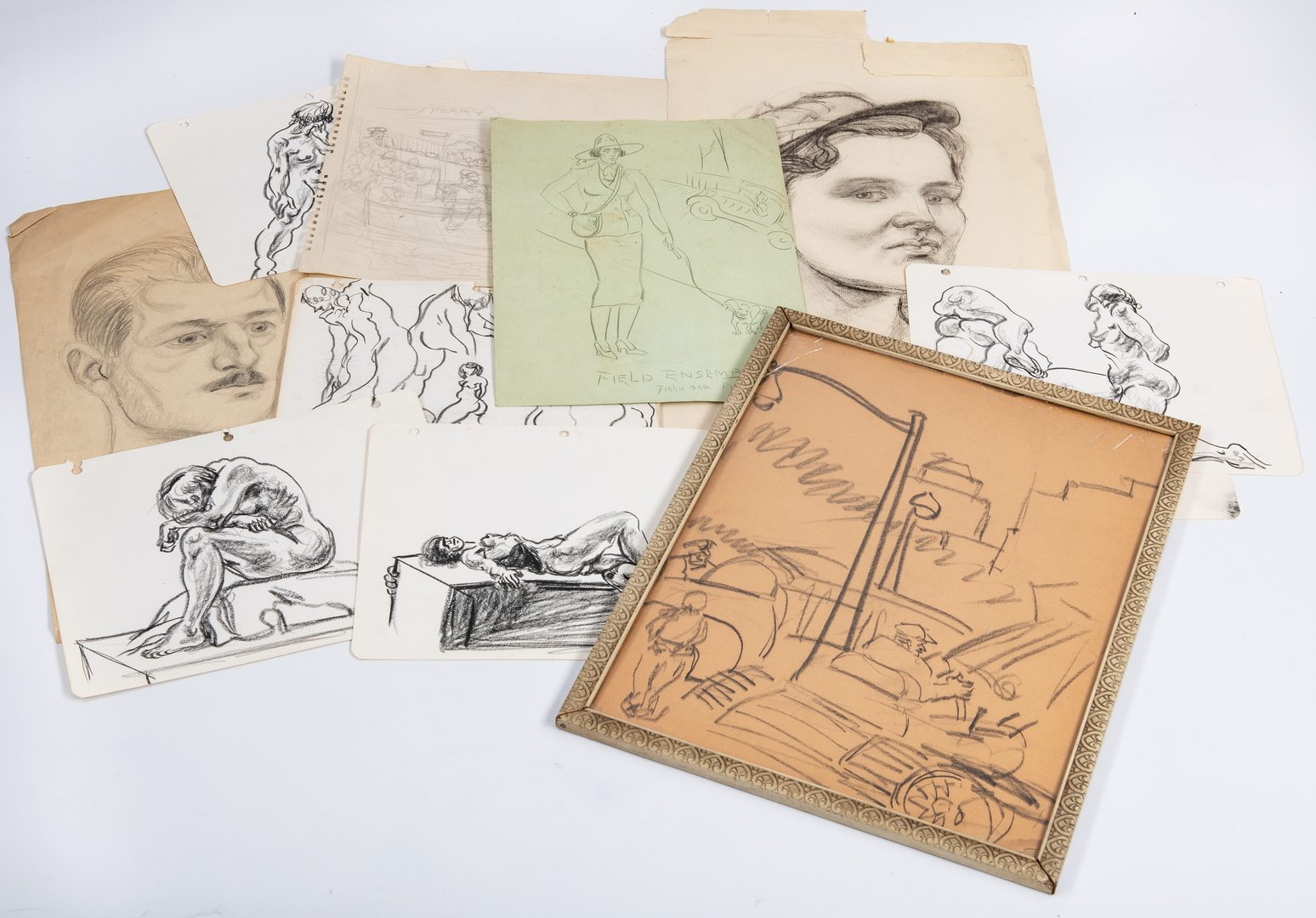 Lot 576: 12 Joseph Delaney Drawings