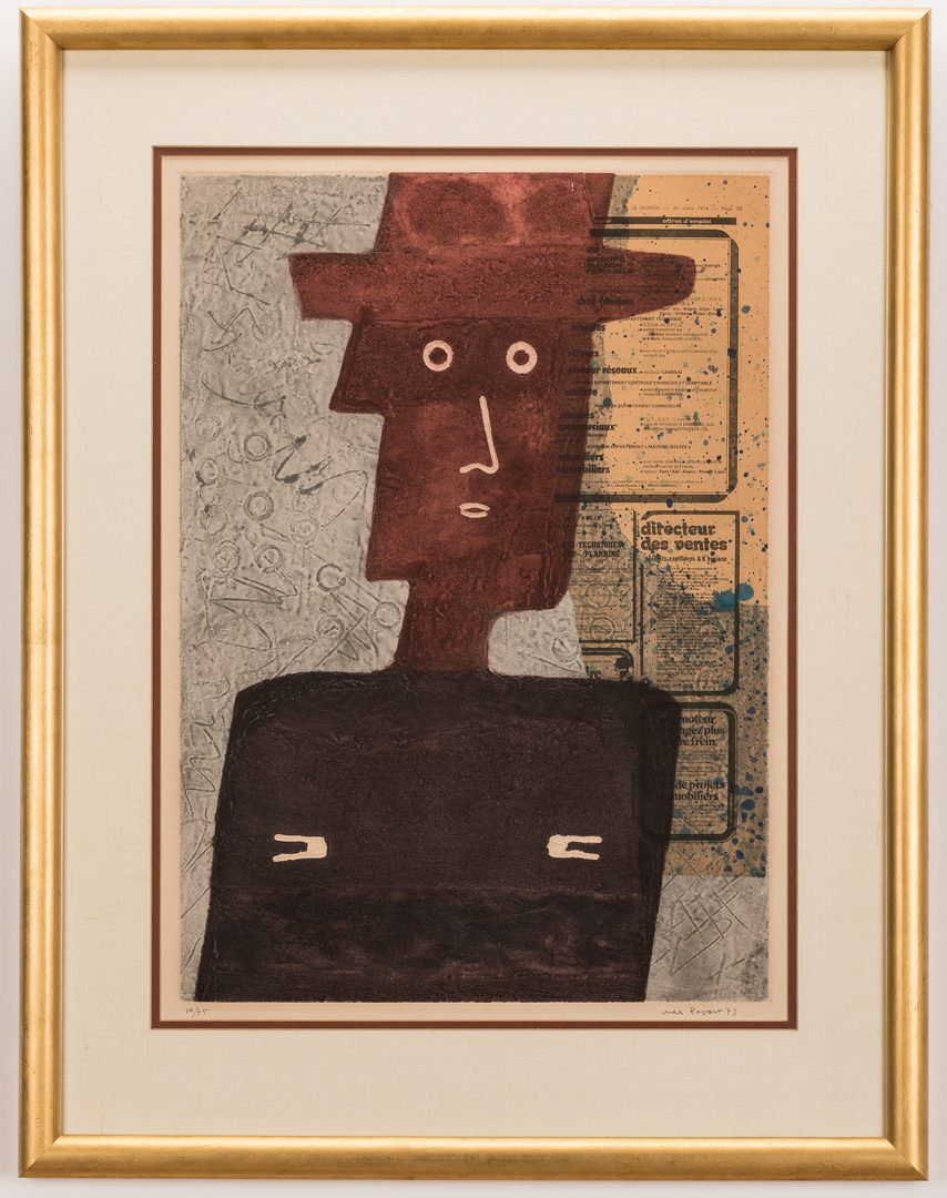 Lot 583: 2 Max Papart Etchings, Red Sun and L'Homme au Chapeau