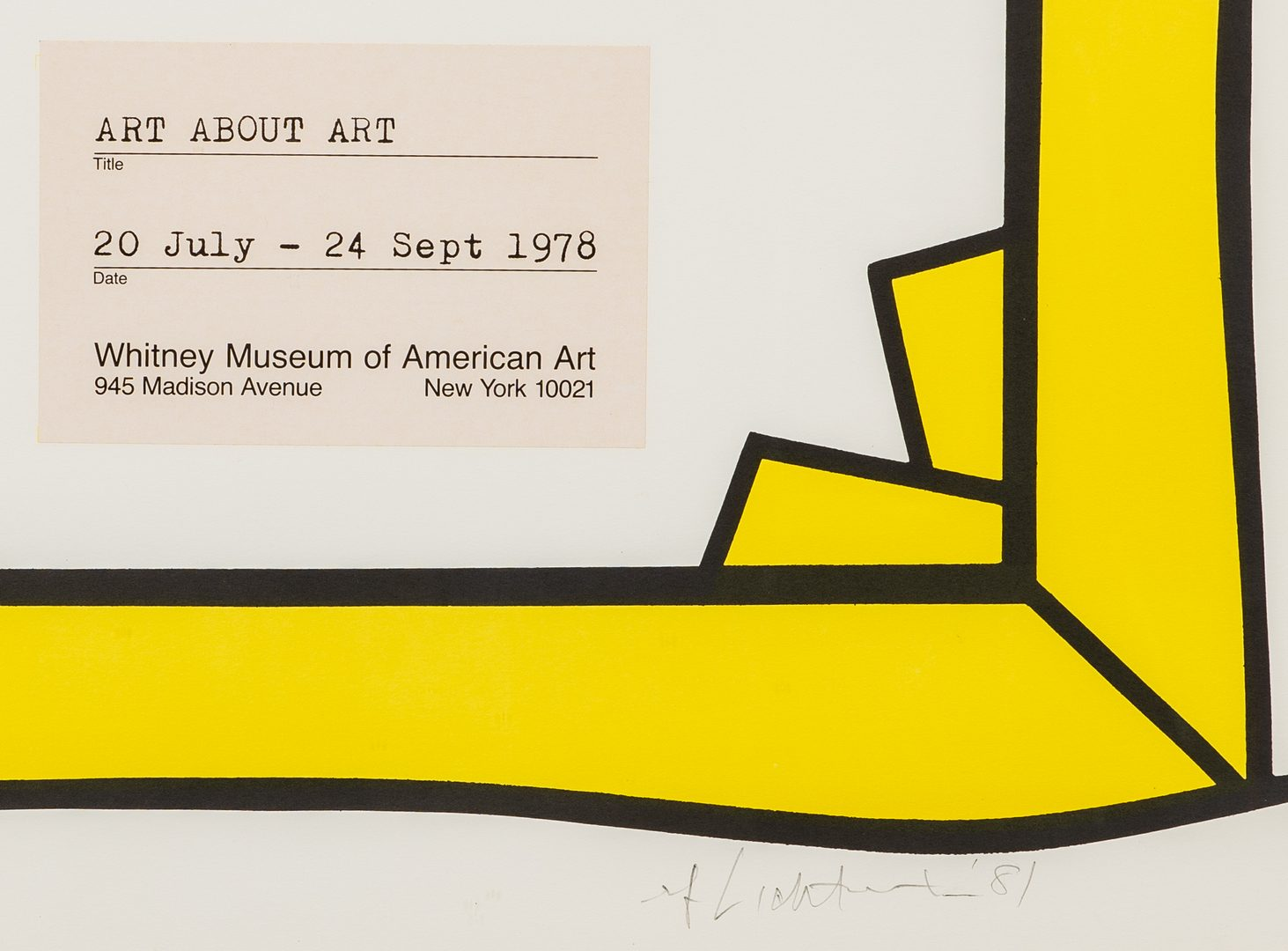 Lot 584: Lichtenstein Signed Poster, Whitney Museum