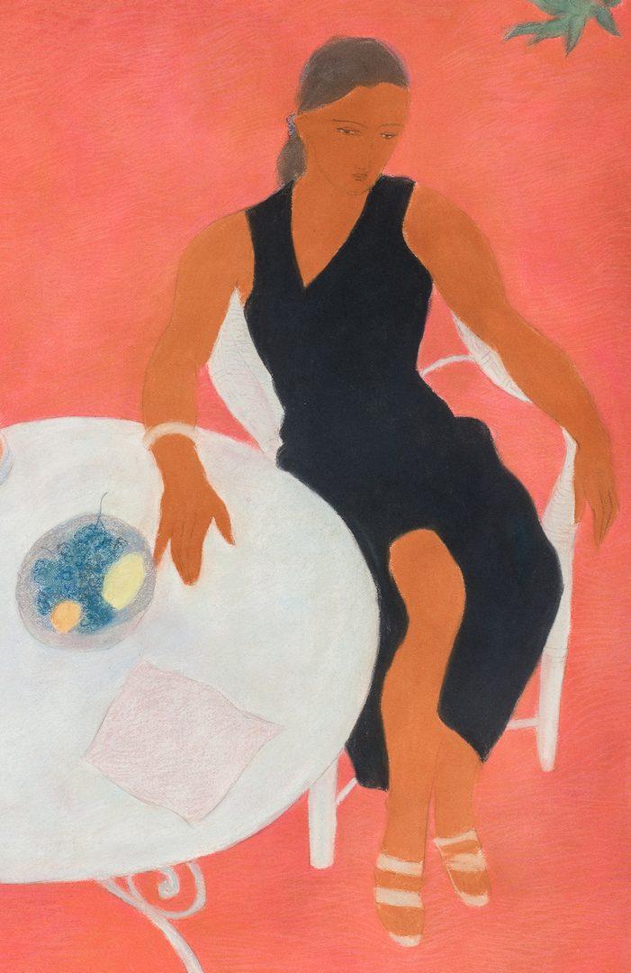 Lot 585: Pierre Boncompain Pastel, Woman at Table