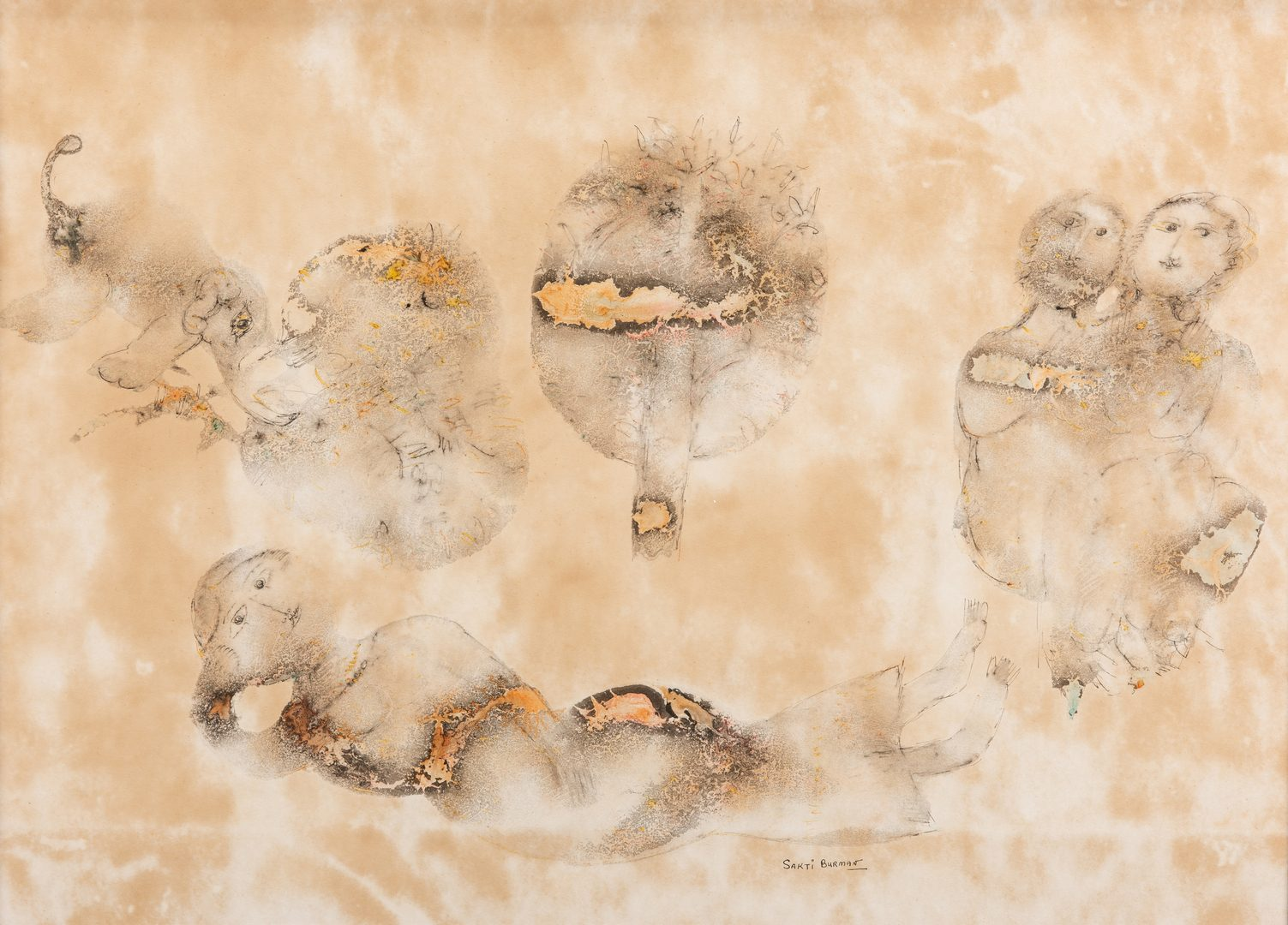 Lot 589: Sakti Burman Watercolor and Ink on Paper