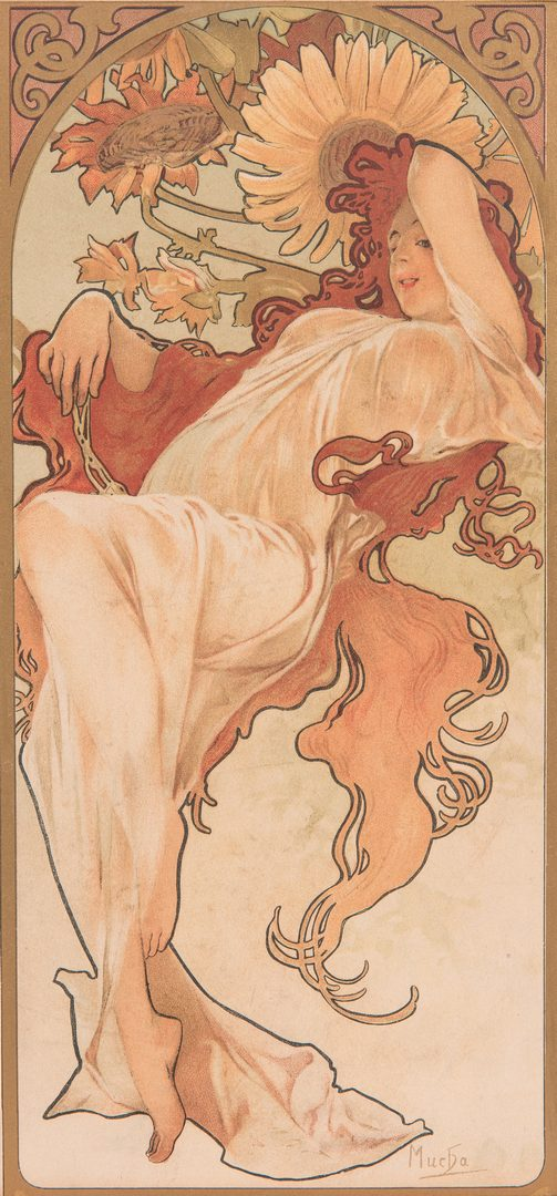 Lot 591: Mucha Signed Art Nouveau Lithograph